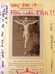 CRUCIFIXION. 2007. 8x10, mixed media on antique encyclopedia page.