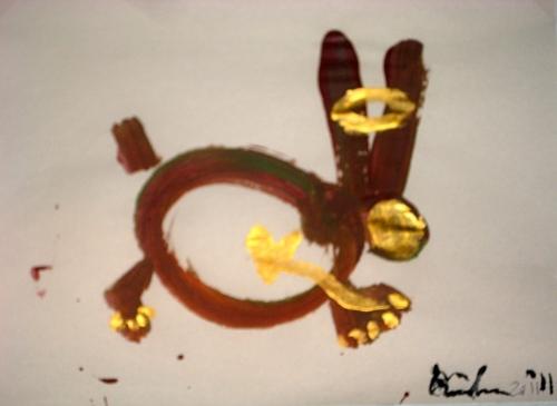 iBunny. 2011. Acrylic on paper, 12x15.