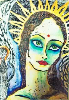 MADRE. 2006. Watercolor on woodcut. 10x12. SOLD, collection Stuart Lewis, M.D. NYC.