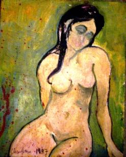 1997, oil on wood. 8.5x11.