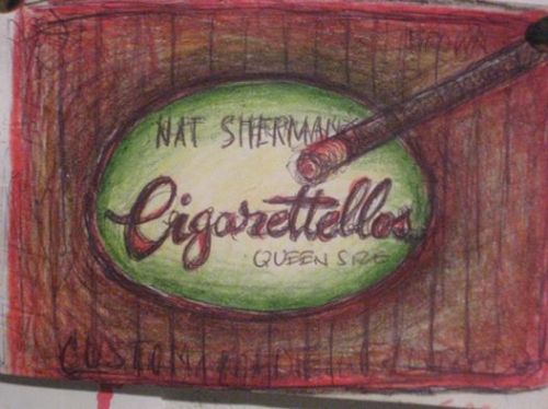 QUEEN SIZE. 1998. Prismacolor and ballpoint on paper. 6x9.